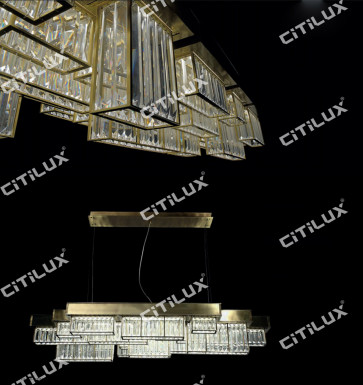 Modern Crystal Combination Stainless Steel Dining Chandelier Citilux