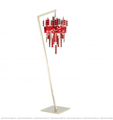 Stainless Steel Red Square Crystal Chandelier Citilux