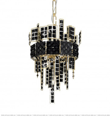 Stainless Steel Black Square Crystal Chandelier Citilux