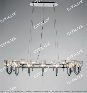 Simple Stainless Steel Crystal Square Cover Long Dining 28 Lights Chandelier Citilux