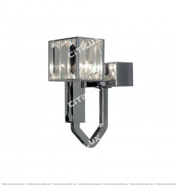 Simple Stainless Steel Crystal Square Cover Single Head Wall Lamp Citilux