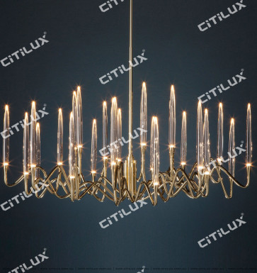 Stereo Icicles Long Large Single-Tier Chandelier Gold Citilux