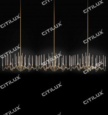 Stereo Icicle Long Head Chandelier Gold Citilux