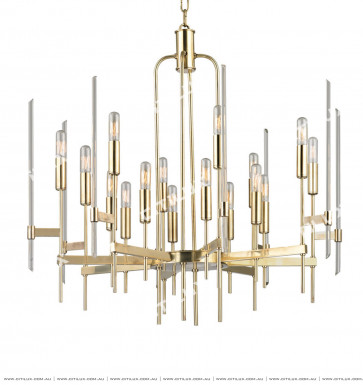 Simple Line Crystal Tube Shape Chandelier Large Gold Citilux