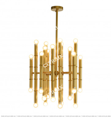 Stainless Steel Bamboo Gold Ceiling Lamp Citilux