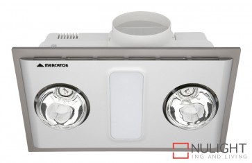 Cosmo Duo Bathroom Heater with Exhaust & Light Silver MEC