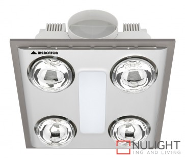 Cosmo Quattro Bathroom Heater with Exhaust & Light Silver MEC