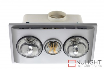 Uniglow LED Bathroom Heater with Exhaust & Light Silver MEC