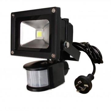 10W LED Floodlight in Warm White Sensor Black CLA Lighting