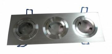 12V MR16 Triple Rectangular 2 Tone Aluminium Downlight Frame in Silver CLA Lighting