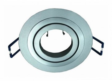 12V/240V MR16 Large Round 360° Gimble Two Tone Aluminium Downlight Frame in Silver CLA Lighting