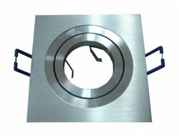 12V/240V MR16 Large Square 360° Gimble Two Tone Aluminium Downlight Frame in Silver CLA Lighting