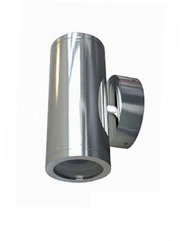 240V GU10 Up/Down Fixed Short Body Wall Pillar Light in Stainless Steel CLA Lighting