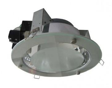 240V Side Entry Round Twin Energy Saving Fluorescent Downlight in Grey / Satin Chrome CLA Lighting