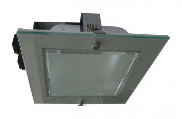 240V Side Entry Square Twin Energy Saving Fluorescent Downlight in Grey / Satin Chrome CLA Lighting