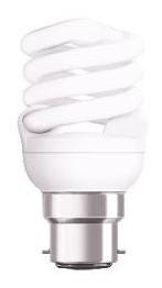 240V T2 11W BC Spiral Fluorescent Bulb 10000 Hours CLA Lighting