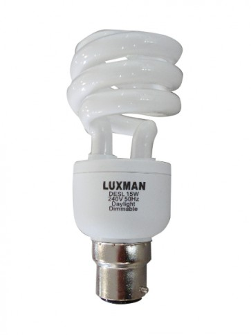 240V T2 15W BC Spiral Dimmable Fluorescent Bulb 8000 Hours CLA Lighting