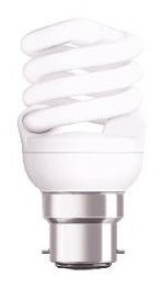240V T2 15W BC Spiral Fluorescent Bulb 10000 Hours CLA Lighting