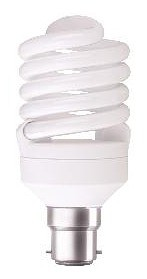 240V T2 20W BC Spiral Fluorescent Bulb 10000 Hours CLA Lighting