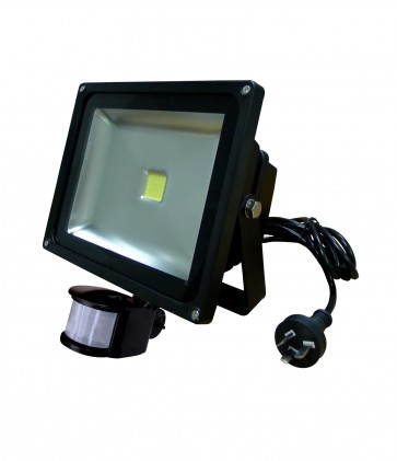 30W LED Floodlight in Warm White Sensor Black CLA Lighting