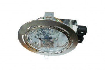 Dimmable Commercial Energy Saving Round Twin Downlight in Satin Chrome CLA Lighting