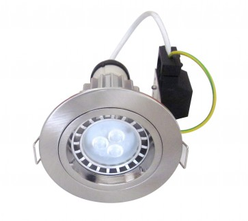 GU10 Round Fixed LED Downlight Kit in Satin Chrome / Cool White CLA Lighting
