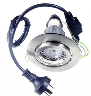 GU10 Round Gimbal LED Downlight Kit in Satin Chrome / Cool White CLA Lighting