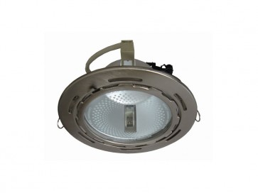 Metal Halide Round Flush Mount Fitting in Satin Chrome CLA Lighting