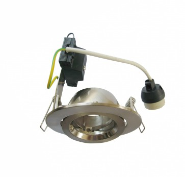 Round Gimbal LED Economy Downlight in Warm White / Satin Chrome CLA Lighting