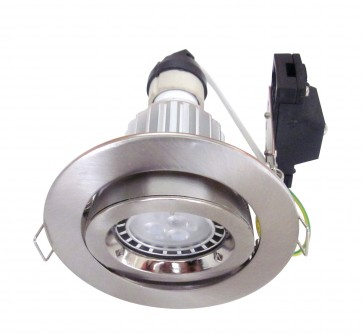 Round LED Downlight Kit in Satin Chrome / Warm White CLA Lighting