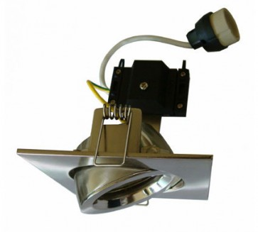 Square Gimbal LED Economy Downlight in Warm White / Satin Chrome CLA Lighting
