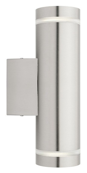Barbados 2 Wall Light in Stainless Steel Cougar