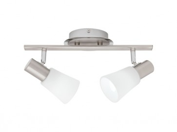 Cirrus 2 Light Ceiling Rail Spotlight in Satin Chrome Cougar