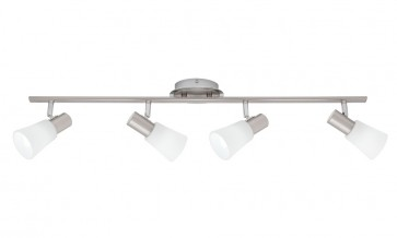 Cirrus 4 Light Ceiling Rail Spotlight in Satin Chrome Cougar