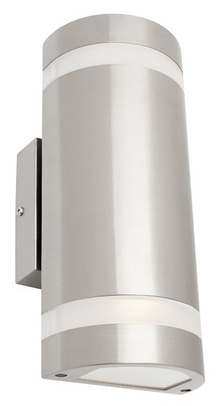 Geneva 2 Light Outdoor Wall Lantern in Stainless Steel Cougar