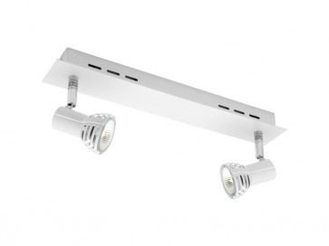 Lunar 2 Light Ceiling Rail Spotlight in Matte White Cougar