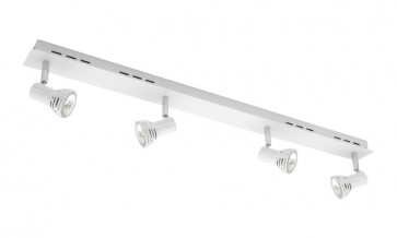 Lunar 4 Light Ceiling Rail Spotlight in Matte White Cougar