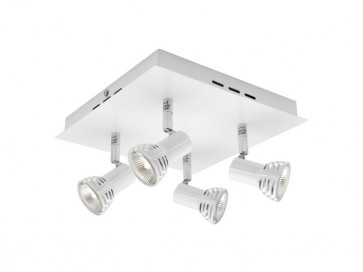 Lunar 4 Light Ceiling Square Spotlight in Matte White Cougar