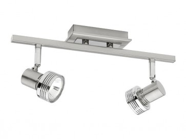 Mercury 2 Light Ceiling Rail Spotlight in Satin Chrome Cougar