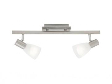 Vulcan 2 Light Ceiling Rail Spotlight in Satin Chrome Cougar