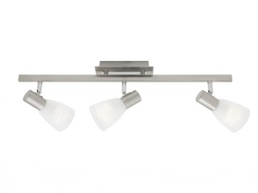 Vulcan 3 Light Ceiling Rail Spotlight in Satin Chrome Cougar