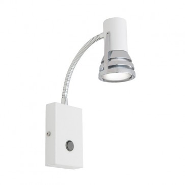 Zeus 1 Light Flexi-Arm Wall Spotlight in Matte White Cougar