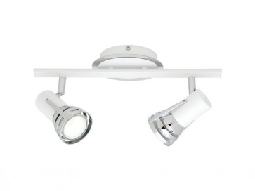 Zeus 2 Light Ceiling Rail Spotlight in Matte White Cougar