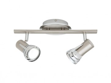 Zeus 2 Light Ceiling Rail Spotlight in Satin Chrome Cougar