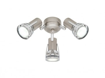 Zeus 3 Light Ceiling Fan Light in Satin Chrome Cougar
