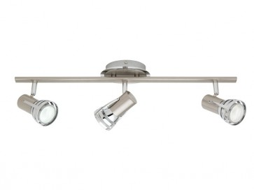 Zeus 3 Light Ceiling Rail Spotlight in Satin Chrome Cougar