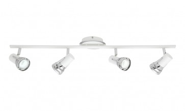 Zeus 4 Light Ceiling Rail Spotlight in Matte White Cougar