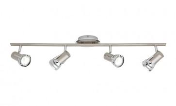 Zeus 4 Light Ceiling Rail Spotlight in Satin Chrome Cougar