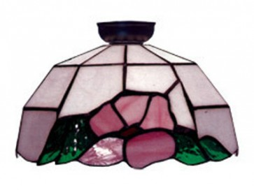 Flush Mount with Pink and Green Floral and Leaf Design Domus Lighting