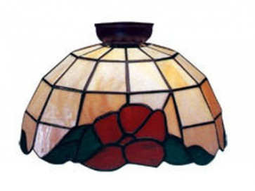 Flush Mount with Red and Green Floral and Leaf Design Domus Lighting